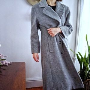 Vintage Heathered Gray Wool Long Pea Coat Large